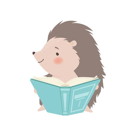 Cute Hedgehog Sitting and Reading Book, Adorable Prickly Animal Cartoon Character Vector Illustration on White Background. Ilustração