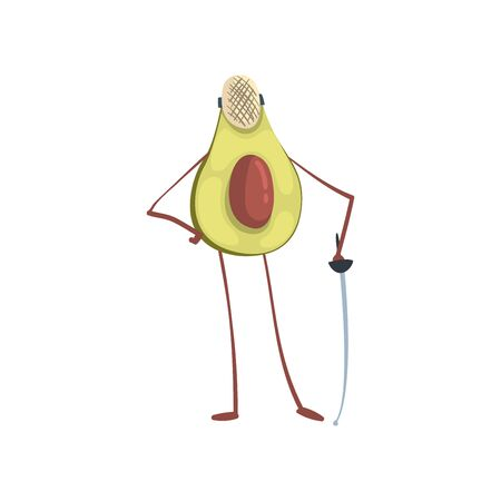 Avocado Fencer with Sword, Funny Exotic Fruit Athlete Cartoon Character Doing Sports Vector Illustration on White Background. Archivio Fotografico - 128164908