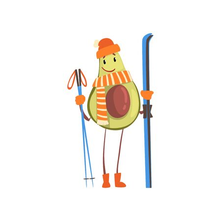 Cheerful Avocado Skier with Skis, Funny Exotic Fruit Athlete Cartoon Character Doing Sports Vector Illustration on White Background. 向量圖像