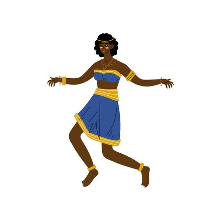African Woman Dancing, Aboriginal Girl Dressed in Bright Traditional Ethnic Clothing Vector Illustration on White Background.