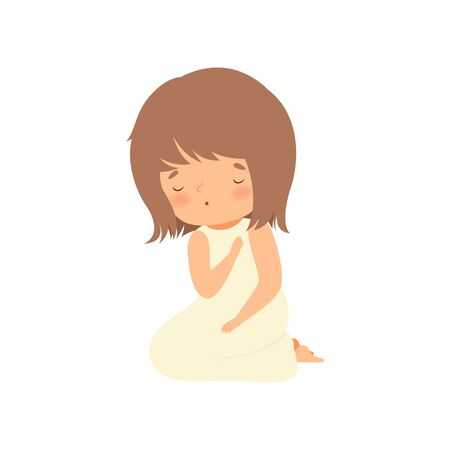 Adorable Little Girl Character Praying Standing on Her Knees Cartoon Vector Illustration