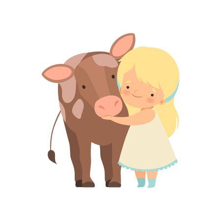 Linda chica abrazando a la pantorrilla, niño interactuando con animales en la ilustración de vector de dibujos animados de Contact Zoo sobre fondo blanco. Ilustración de vector
