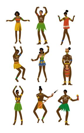 African People Set, Male and Female Aboriginal with Painted Faces Dressed in Bright Traditional Tribal Clothing and Ethnic Jewelry Vector Illustration on White Background. Illustration