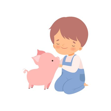 Cute Boy Petting Piglet, Kid Interacting with Animal in Contact Zoo Cartoon Vector Illustration on White Background.
