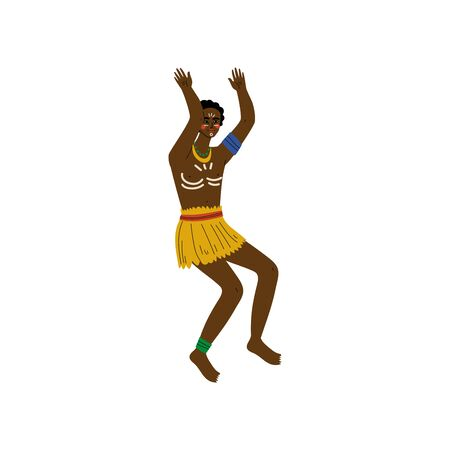 Dancing African Man, Male Aboriginal Dressed in Bright Traditional Ethnic Clothing Vector Illustration on White Background. Foto de archivo - 128164930