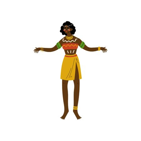 Dancing African Woman, Aboriginal Girl Dressed in Bright Traditional Tribal Clothing and Ethnic Jewelry Vector Illustration on White Background. Foto de archivo - 128164931