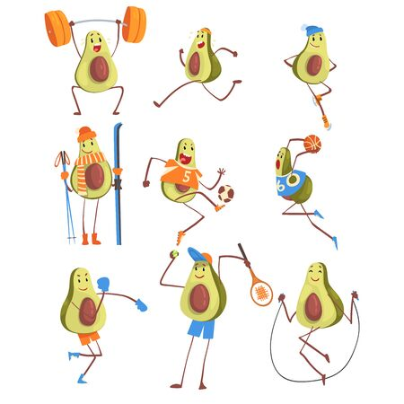 Avocado Cartoon Character Doing Sports Set, Funny Exotic Fruit Athlete Playing Basketball, Soccer, Tennis, Jumping with Skipping Rope, Running, Boxing Vector Illustration on White Background.
