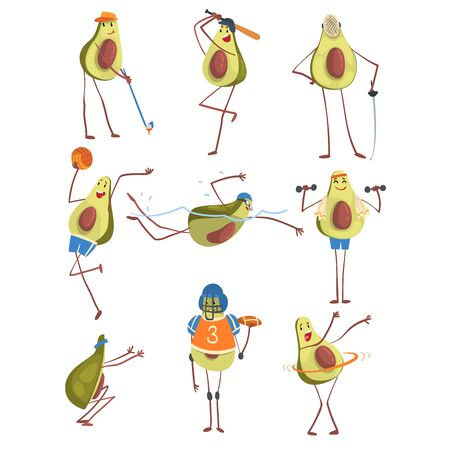 Avocado Cartoon Character Doing Sports Set, Funny Exotic Fruit Athlete Playing Volleyball, American Football, Baseball, Golf, Exercising with Dumbbell, Hoola Hoop Vector Illustration on White Background. Ilustração