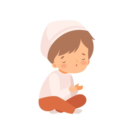 Arabic Muslim Boy Character Sitting with Crossed Legs and Praying Cartoon Vector Illustration