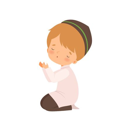 Cute Muslim Boy Character Kneeling and Praying Cartoon Vector Illustration