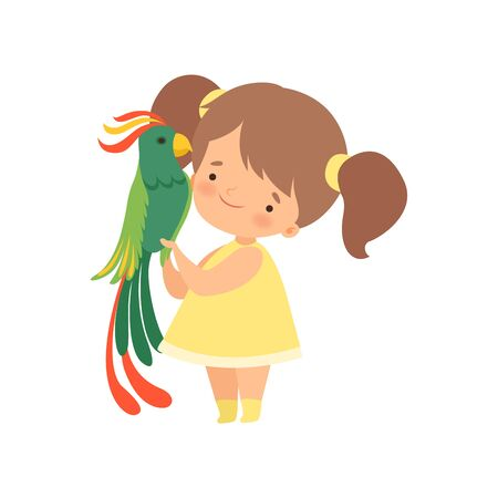 Cute Girl with Green Parrot, Kid Interacting with Animal in Contact Zoo Cartoon Vector Illustration on White Background.