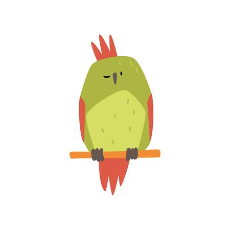 Cute Bird Sitting on Perch, Funny Birdie Cartoon Character with Bright Green Feathers Vector Illustration on White Background.