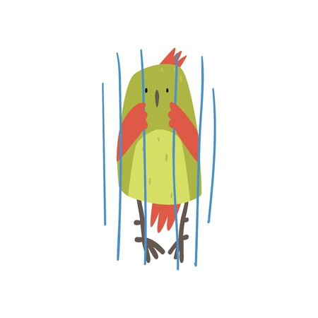 Cute Bird in Cage, Funny Birdie Cartoon Character with Bright Green Feathers in Captivity Vector Illustration on White Background. Illustration