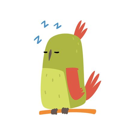 Cute Bird SLeeping on Perch, Funny Birdie Cartoon Character with Bright Green Feathers Vector Illustration on White Background.