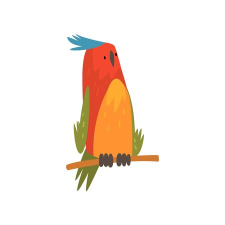 Cute Bird Sitting on Perch, Funny Birdie Cartoon Character with Bright Colorful Feathers and Tuft Vector Illustration on White Background. Illustration