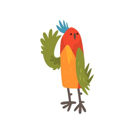 Cute Bird Waving Its Wing, Funny Birdie Cartoon Character with Bright Colorful Feathers and Tuft Vector Illustration on White Background. Illustration