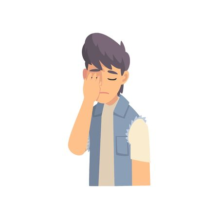 Guy Covering His Face with Hand, Fashionable Teen Boy Making Facepalm Gesture, Shame, Headache, Disappointment, Negative Emotion Vector Illustration on White Background.