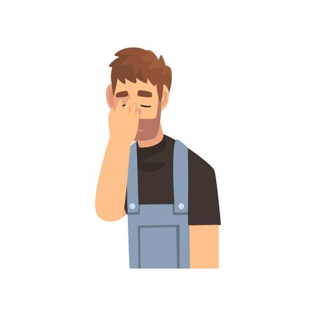 Young Bearded Man in Overalls Covering His Face with Hand, Guy Making Facepalm Gesture, Shame, Headache, Disappointment, Negative Emotion Vector Illustration on White Background.