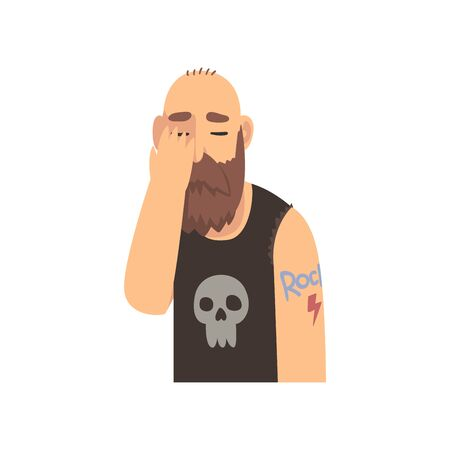 Bald Bearded Man Covering His Face with Hand, Brutal Man Making Facepalm Gesture, Shame, Headache, Disappointment, Negative Emotion Vector Illustration on White Background. Illustration