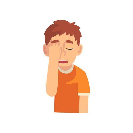 Guy couvrant son visage avec la main, Teen Boy faisant le geste de Facepalm, honte, mal de tête, déception, illustration vectorielle d'émotion négative sur fond blanc.