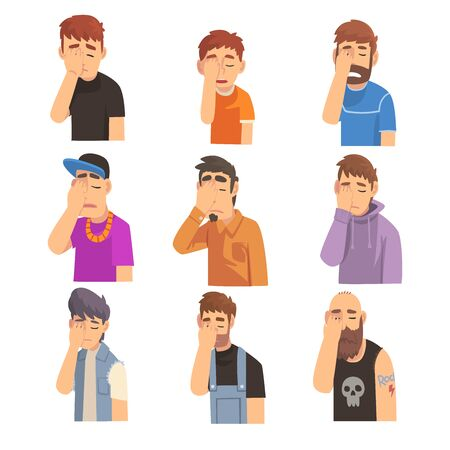 Men Covering Their Face with Hands Set, People Making Facepalm Gestures, Shame, Headache, Disappointment, Negative Emotions Vector Illustration Ilustração