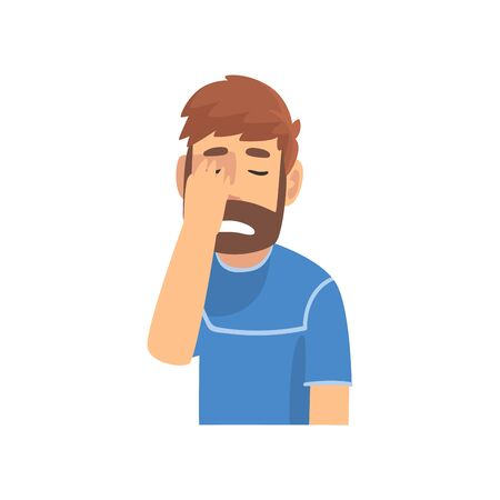 Disappointed Bearded Man Covering His Face with Hand, Guy Making Facepalm Gesture, Shame, Headache, Disappointment, Negative Emotion Vector Illustration on White Background.