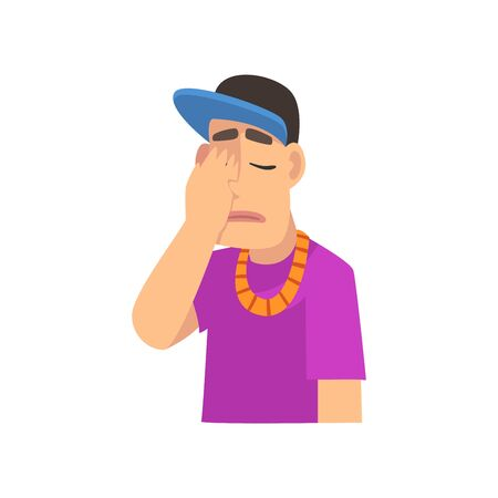 Cool Rapper Man Covering His Face with Hand, Guy Making Facepalm Gesture, Shame, Headache, Disappointment, Negative Emotion Vector Illustration on White Background.