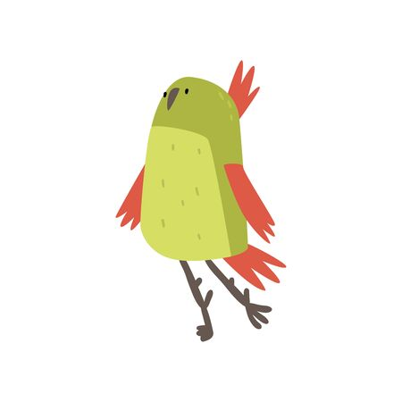 Cute Cheerful Bird, Funny Birdie Cartoon Character with Bright Green Feathers Vector Illustration on White Background.