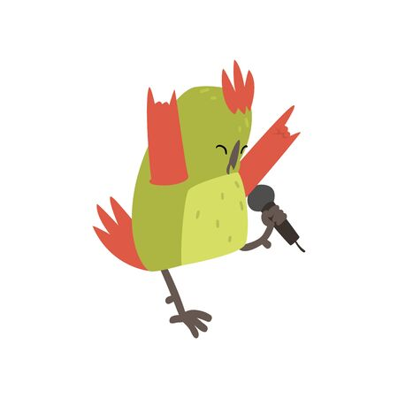 Cute Bird Singing with Microphone, Funny Birdie Cartoon Character with Bright Green Feathers Vector Illustration on White Background.