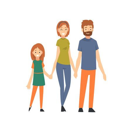 Mother, Father and Daughter, Happy Family with Child Cartoon Vector Illustration on White Background.