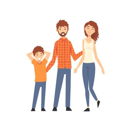 Mother, Father and Son, Happy Family with Child Cartoon Vector Illustration on White Background. Banque d'images - 128164960