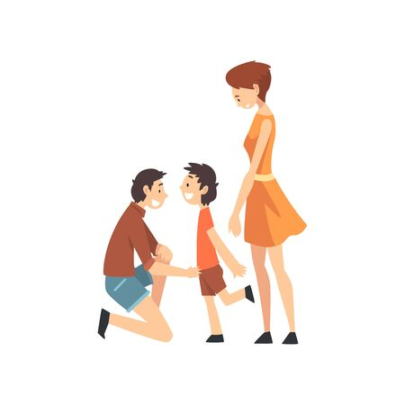 Mother, Father and Son, Father Kneeling before His Son, Happy Family Concept Cartoon Vector Illustration on White Background. Stockfoto - 128164961