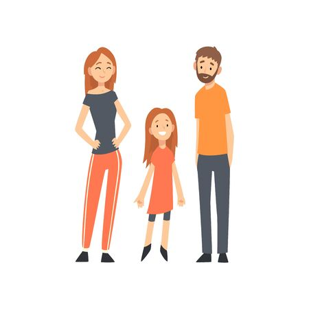 Smiling Mother, Father and Daughter, Happy Family with Child Cartoon Vector Illustration on White Background. Banque d'images - 128164962