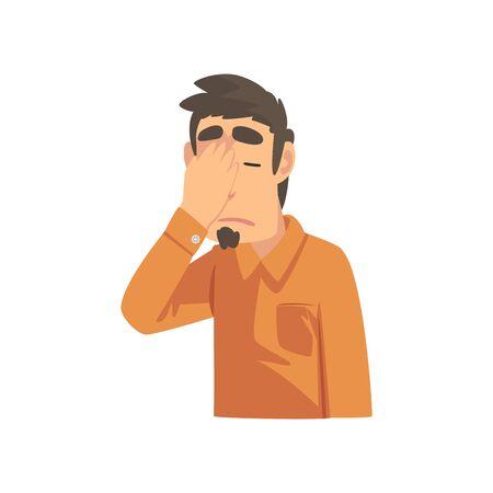 Hombre joven decepcionado que cubre su rostro con la mano, chico haciendo gesto de Facepalm, vergüenza, dolor de cabeza, decepción, emoción negativa ilustración vectorial sobre fondo blanco.
