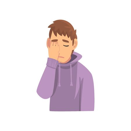 Young Man Wearing Hoodie Covering His Face with Hand, Guy Making Facepalm Gesture, Shame, Headache, Disappointment, Negative Emotion Vector Illustration on White Background.