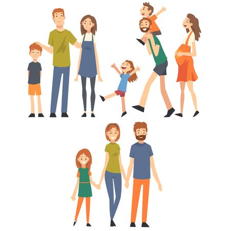 Glückliche Familie mit Kindern Set, Mütter, Väter und ihre Kinder verbringen gute Zeit zusammen Cartoon-Vektor-Illustration auf weißem Hintergrund. Vektorgrafik