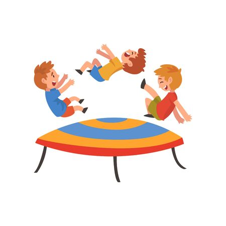 Boys Jumping on Trampoline, Happy Trampolining Kids Playing and Having Fun Cartoon Vector Illustration on White Background. Stock Illustratie