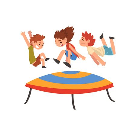 Cute Boys and Girl Jumping on Trampoline, Happy Kids Bouncing and Having Fun Cartoon Vector Illustration on White Background. Illustration