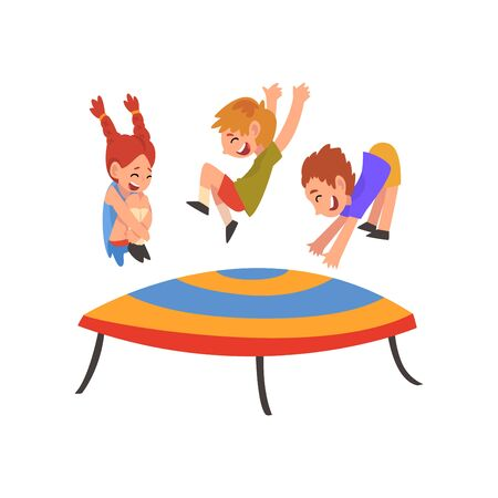 Cute Smiling Boys and Girl Jumping on Trampoline, Happy Kids Bouncing and Having Fun Cartoon Vector Illustration on White Background. Illustration