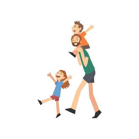 Dad and Son Spending Good Time Together, Dad Carrying Son on His Shoulders, Happy Family Concept Cartoon Vector Illustration on White Background. Ilustracja