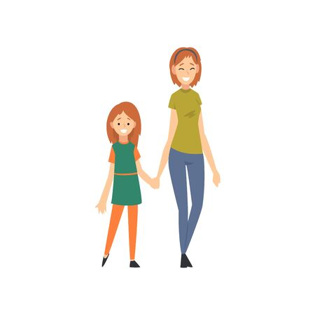 Smiling Mother and Daughter Holding Hands, Happy Family Concept Cartoon Vector Illustration on White Background.