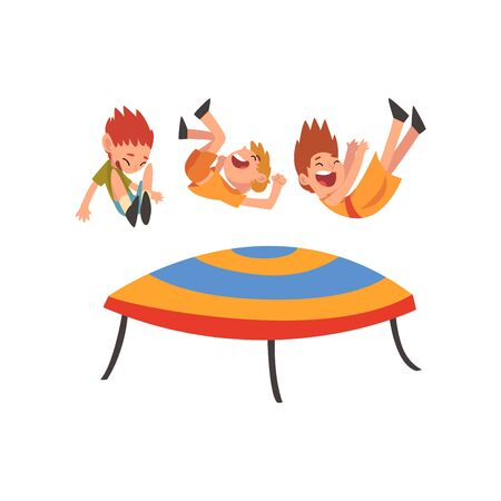 Cute Smiling Boys Jumping on Trampoline, Happy Kids Bouncing and Having Fun Cartoon Vector Illustration on White Background.