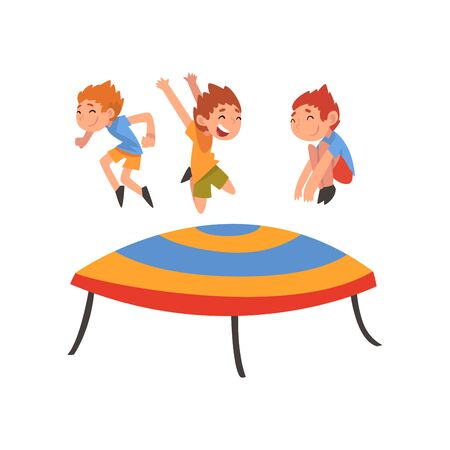 Cute Boys Jumping on Trampoline, Happy Kids Bouncing and Having Fun Cartoon Vector Illustration on White Background. Illustration