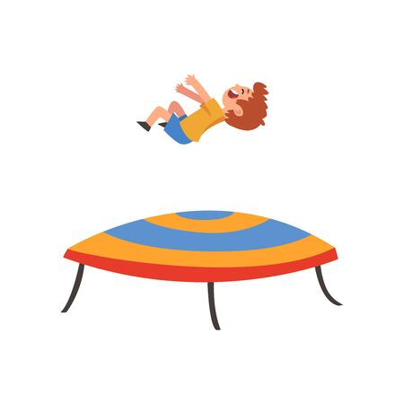 Cute Happy Boy Jumping on Trampoline, Smiling Little Kid Bouncing and Having Fun Cartoon Vector Illustration on White Background.