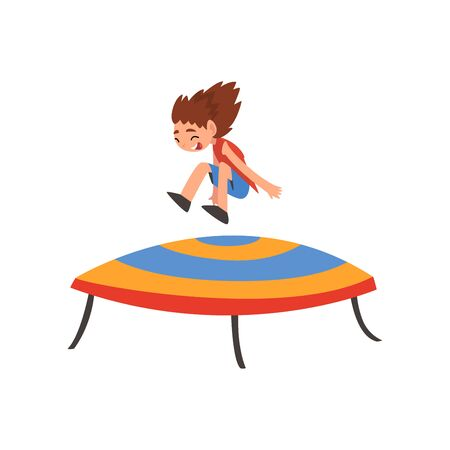 Cute Happy Girl Jumping on Trampoline, Smiling Little Kid Bouncing and Having Fun Cartoon Vector Illustration on White Background. Çizim