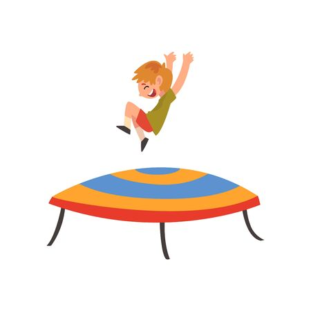 Happy Boy Jumping on Trampoline, Smiling Little Kid Bouncing and Having Fun Cartoon Vector Illustration on White Background. 일러스트