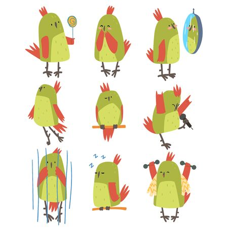 Funny Bird Cartoon Character in Different Situations Set, Cute Birdie with Bright Green Feathers Vector Illustration on White Background.