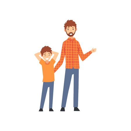 Father and Son Standing Together, Happy Family Concept Cartoon Vector Illustration on White Background. Banque d'images - 128164983