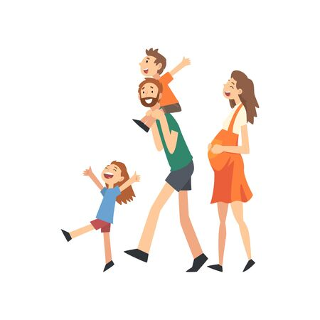 Smiling Pregnant Mother, Father and Kids, Happy Family with Children Walking Cartoon Vector Illustration on White Background.