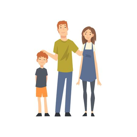 Smiling Mother, Father and Son, Happy Family with Child Cartoon Vector Illustration on White Background. Banque d'images - 128164988